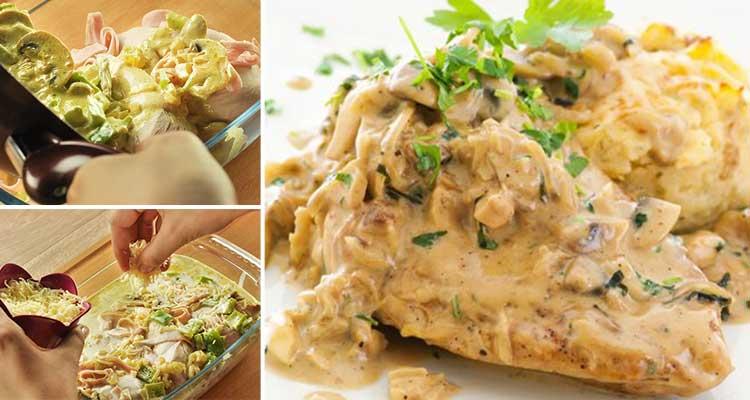 Poulet à la crème et champignons - Bnina