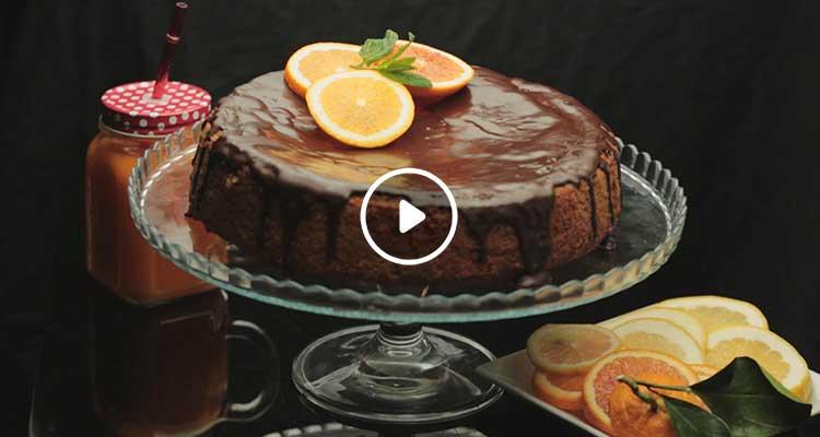 كيك البرتقال مع صلصة الشكولاتة - بنينة