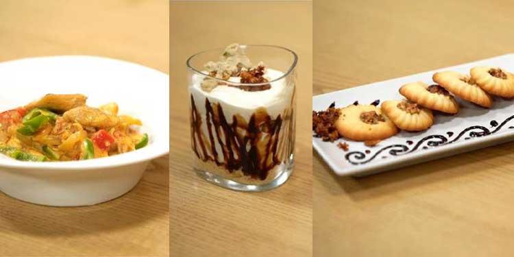 Riz au Poulet à l'indienne, Petit four soleil a la Nougatine, Coupe Cheesecake Chamia - Coujinet romdhan 02 ep 27