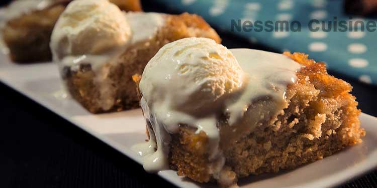 Gâteau aux pommes et sa glace Vanille
