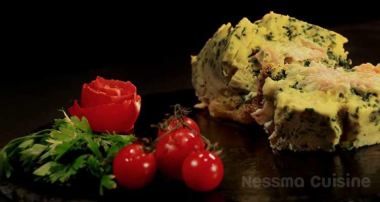 Omlette roulée au jambon - Bnina