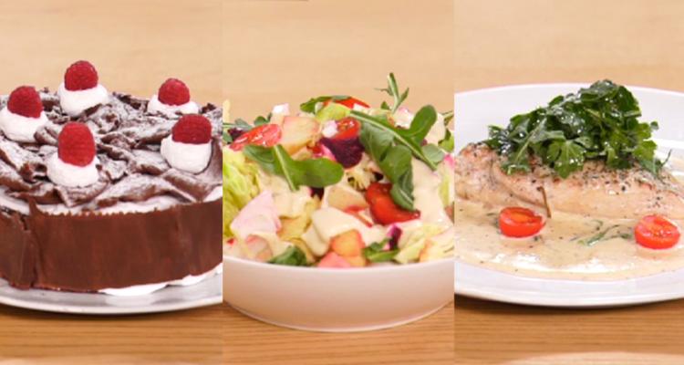 salade de betterave et noix, poulet crème d'ail et basilic , gâteau réveillon foret noir - koujinet lyoum 03 ep 06