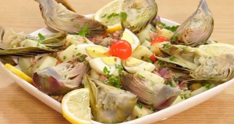 Salade d'artichauts et pomme de terre , Ragoût de Petits Pois a la Seiches  et Choco citron orange - koujinet lyoum malek 3 ep 12