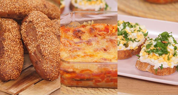 تارتين بالتن ،غراتان بالباذنجان وجبن البرمزون ، خبز بالغلال - كوجينة رمضان 3 - الحلقة 7
