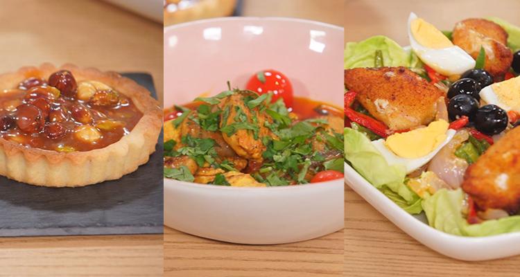 Salade de poulet et piments Sautés , ragoût de champignons et poulets  ,tartelette spéculoos et fruits secs - koujient romdhan 3 ep 8
