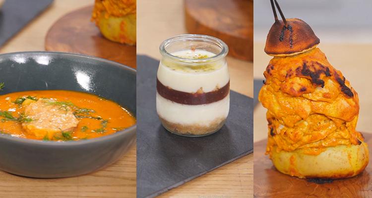 Home made chawarma, Soupe de poisson, Riz au lait pistaches et fruits en verrines - koujinet romdhan 3 ep 13