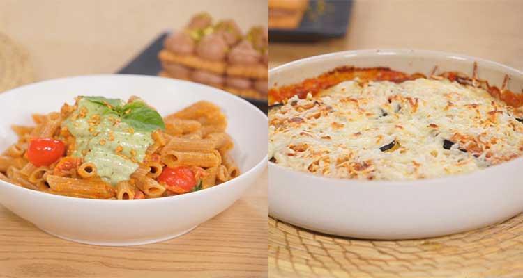 غراتان باذنجان على الطريقة الايطالية، مقرونة بلومة بصلصة الثوم والجبن،خبزة هواء