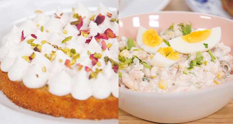 Salade d'haricot blanc , Chou farcies et braisés, Harissa en gâteau - koujinet romdhan 3 ep 22
