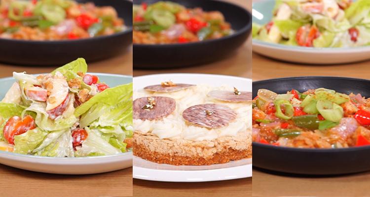 Salade de pomme et de noix, biscuit noisette, sweet and sour chicken