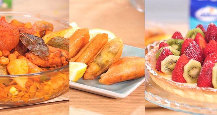 Nwasser au poulet, Samssa à la viande hachée, Tarte aux fruits - koujinet Romdhan 3 Ep 5