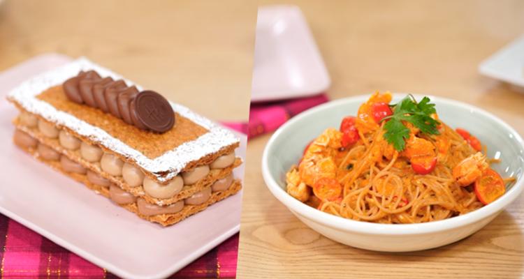 Poivrons grillés, Spaghetti langoustines, Millefeuille chocolat - Koujinet Elyoum m3a malek 4 - Ep 3