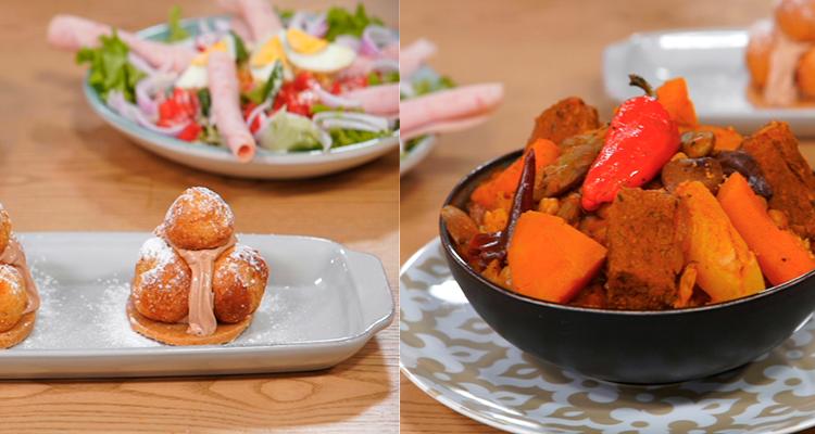 Couscous au veau, Salade mixte, Saint-Honoré - koujinet Elyoum m3a Malek 4 - Ep 4