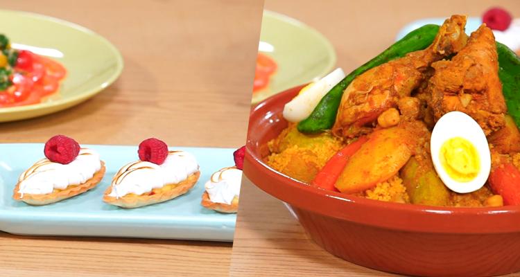 Salade de tomate, Couscous au poulet, tartelettes au citron - Koujinet Elyoum m3a malek 04 Ep 17