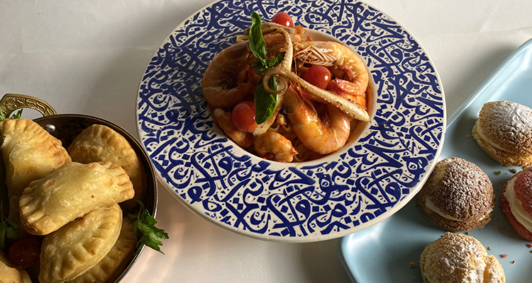 Brik danouni, crevettes tagliatelles poulpe, choux à la crème - Koujinet Romdhan Ep 10