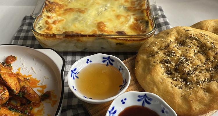 Pomme de terre à l'arabiata, Lasagne ricotta épinard, Pain maison -  Koujinet romdhan 4 Ep 11