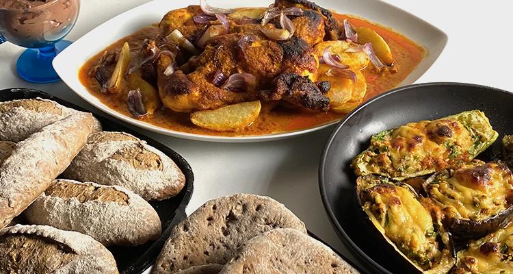 باذنجان و كوسة محشية  بالتونة, دجاج مسحب على الطريقة الشامية, خبز كامل - كوجينة رمضان 4 - الحلقة 17