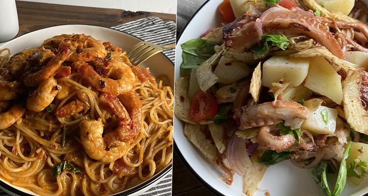 Salade de poulpe, Sbaghetti aux crevettes, Fondant pistache - Koujinet Romdhan 4 Ep 19