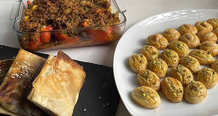 سلطة بالجبن مقرمشة، فلفل محشي، حلويات رموش الست - كوجينة رمضان 4 - الحلقة 30