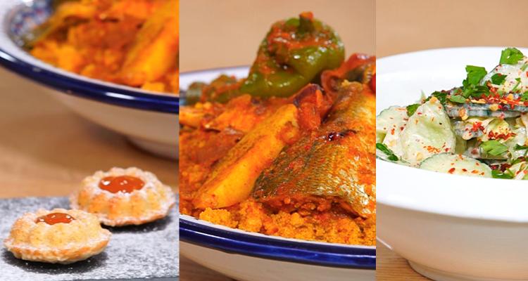 Couscous au poisson, Salade de concombre, Moelleux pralin - Koujinet Elyoum m3a malek 04 - Ep 21