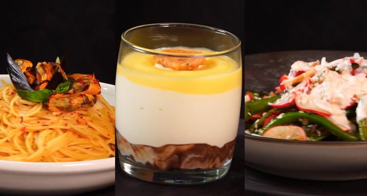 Salade de haricots verts, Spaghetti aux moules, Verrines vanille citron - Koujinet Elyoum 04 Ep 23